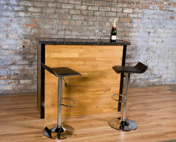 The Fascia Is Bonded Solid Oak 15mm Think Sanded And Finished To Give An  Attractive Brushed Finish. The Bar Top Being A Black Shiny Marble Affect  Giving A ...